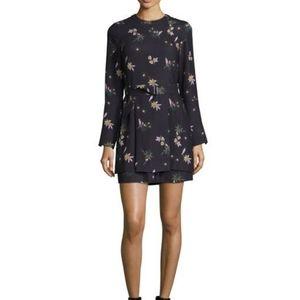A.L.C 100% Silk Floral Mini 70s Style Dress Sz 12